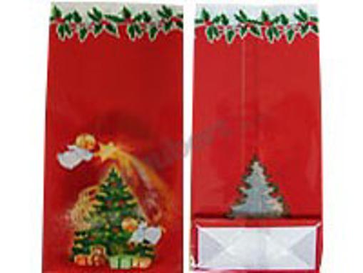 Obrázek z Sáček PP s potiskem - anděl červený 12 + 6 x 29 cm, 1000 ks