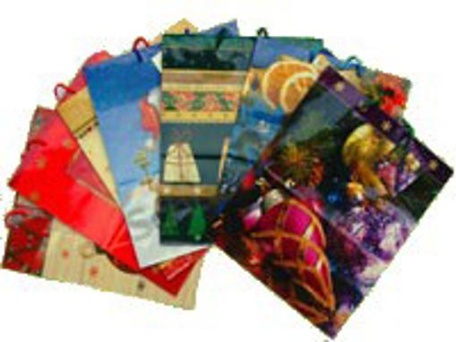 Obrázek z Taška papírová dárková s potiskem - vánoce 26 x 13 x 32 cm, 12 ks
